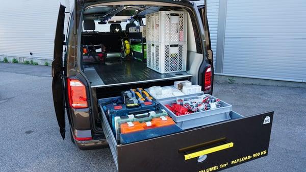 Dubbelgolv Smartfloor Bilinredning till transportbil